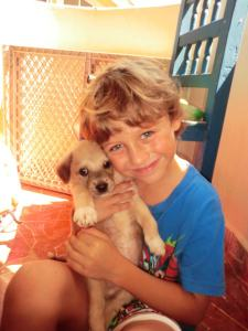 My friend Tiffany's son Barlow and his namesake Barlito at Isla Animals