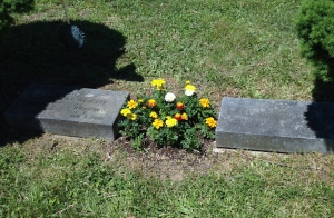 headstones, cemetery, history, marigolds