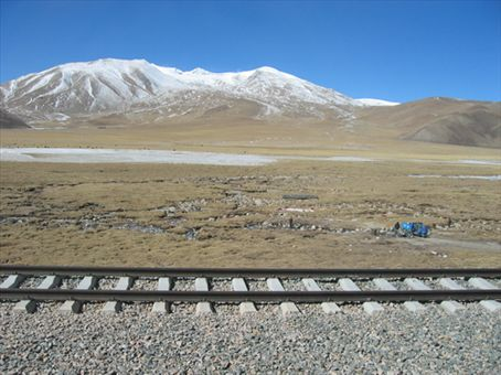 Tibetian Plateau railroad tracks