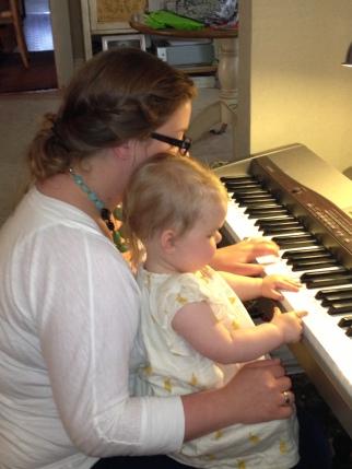 Fee and her Mama playing Grandma Jean's keyboard