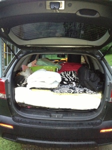 family car packed for college
