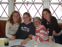 Grandmother, granddaughters, family photo, Thanksgiving