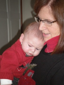 Mother and son, baby's first Thanksgiving