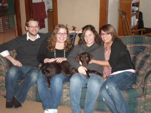 Family photo, children, Labrador puppy, Thanksgiving