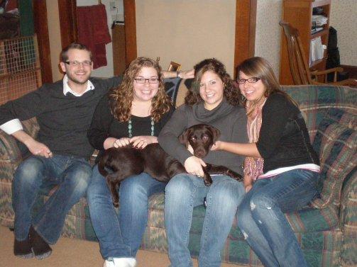 Family photo, children, Labrador puppy, Thanksgiving