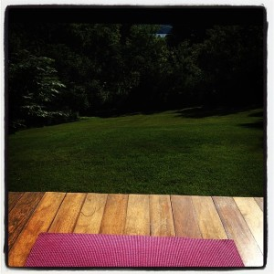 Pink yoga mat, porch, practice, morning yoga, namaste