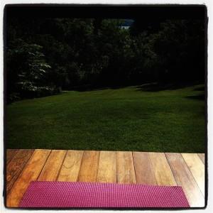 Pink yoga mat, porch, practice, morning yoga, namaste