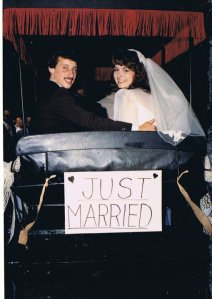 newlyweds, wedding, buggy, surry with a fringe on top, just married, just hitched, bride, groom