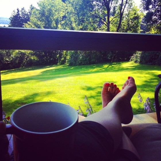 Summertime, relaxing, feet, coffee, cup, Squirrel Hill, lawn, hill, Chautauqua Lake